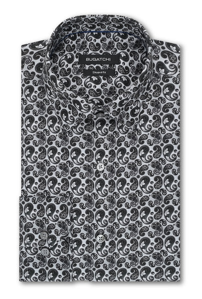 Bugatchi Silver & Black Paisley Print Classic Fit - Rainwater's Men's Clothing and Tuxedo Rental