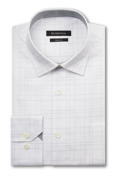 Bugatchi White With Black Windowpane Classic Fit - Rainwater's Men's Clothing and Tuxedo Rental