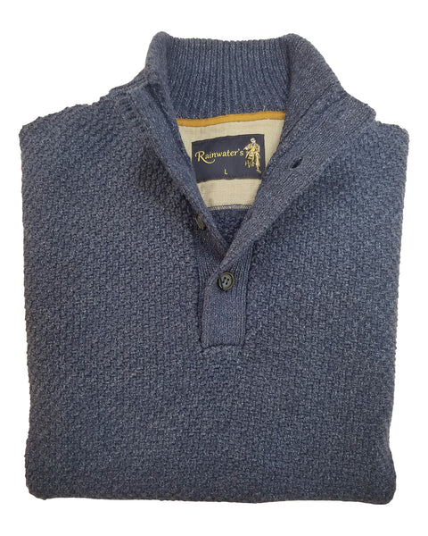 Button Mock Sweater in Denim Blue Textured Cotton Blend - Rainwater's Men's Clothing and Tuxedo Rental