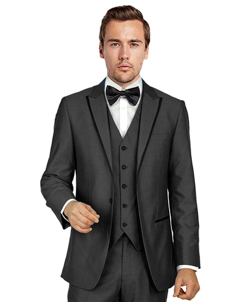 Dark Grey Matching Peak Lapel Tuxedo Rental - Rainwater's Men's Clothing and Tuxedo Rental