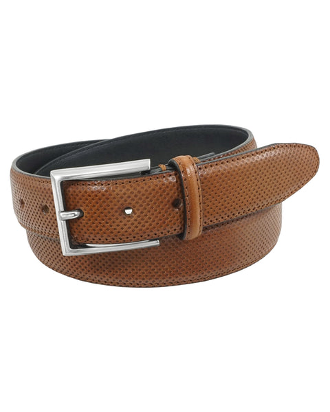 Dominic Micro-Perforated Embossed Belt in Cognac - Rainwater's