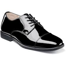 Florsheim Reveal Cap Toe Oxford Jr. Boys Dress Shoes in Black Patent Leather - Rainwater's