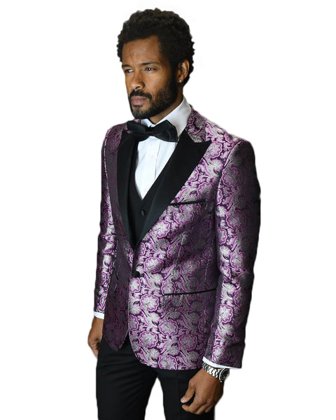 Fuschia Paisley Dinner Jacket Tuxedo Rental - Rainwater's
