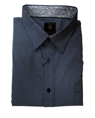 F/X Fusion Navy Circle Print Hidden Button Down Sport Shirt - Rainwater's Men's Clothing and Tuxedo Rental