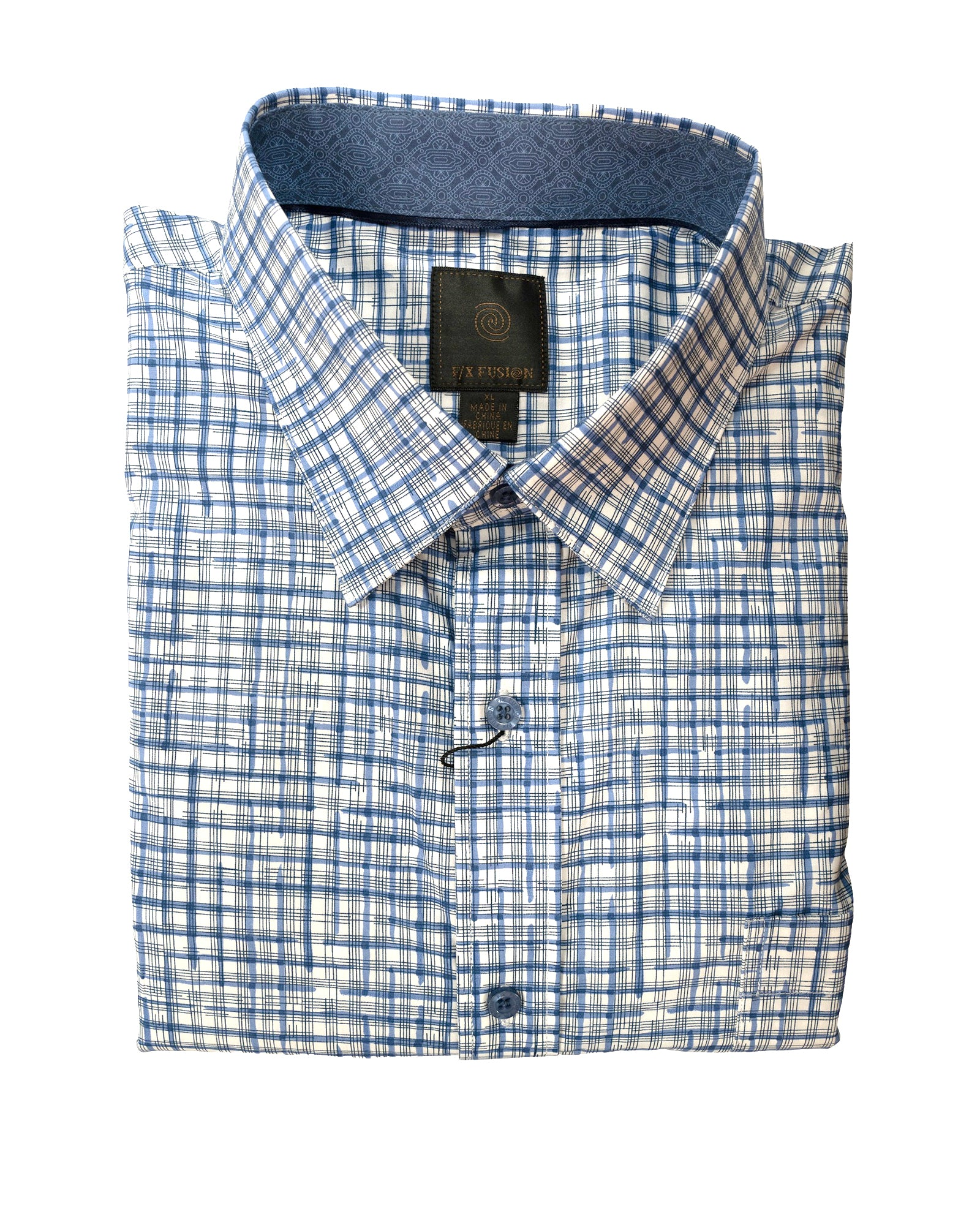 F/X Fusion Blue and White Grip Print Sport Shirt - Rainwater's Men's Clothing and Tuxedo Rental