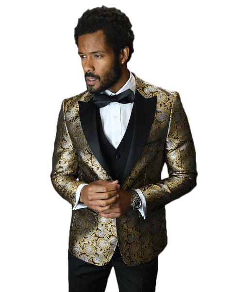 Gold Paisley Dinner Jacket With Black Lapel Tuxedo Rental - Rainwater's Men's Clothing and Tuxedo Rental