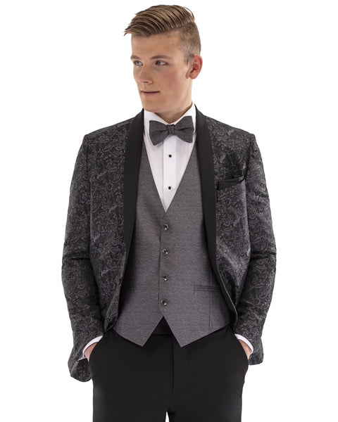Granite Black Paisley Shawl lapel Dinner Jacket Tuxedo Rental - Rainwater's Men's Clothing and Tuxedo Rental