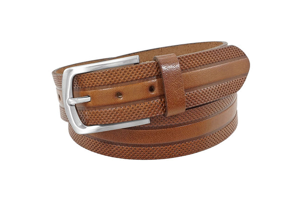 Cognac Leather Strap Belt With Embossed Design - Rainwater's