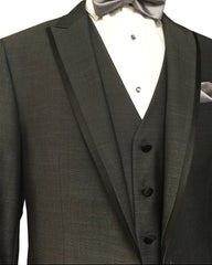 Dark Grey Matching Peak Lapel Tuxedo Rental - Rainwater's