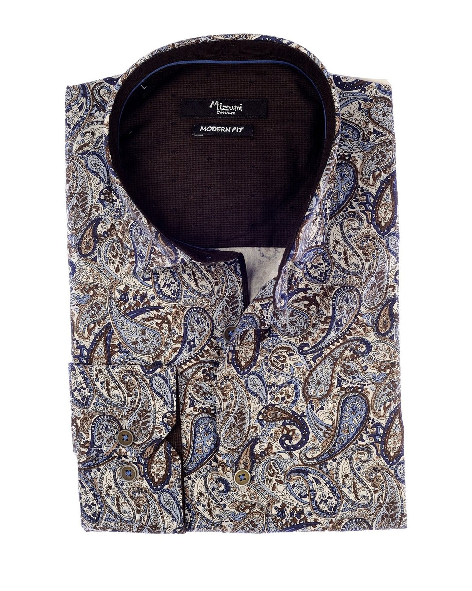 Mizumi Print Long Sleeve Hidden Button Down in Blue and Beige Paisley - Rainwater's Men's Clothing and Tuxedo Rental