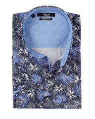 Mizumi Print Short Sleeve Hidden Button Down in Navy with Blue Floral - Rainwater's Men's Clothing and Tuxedo Rental