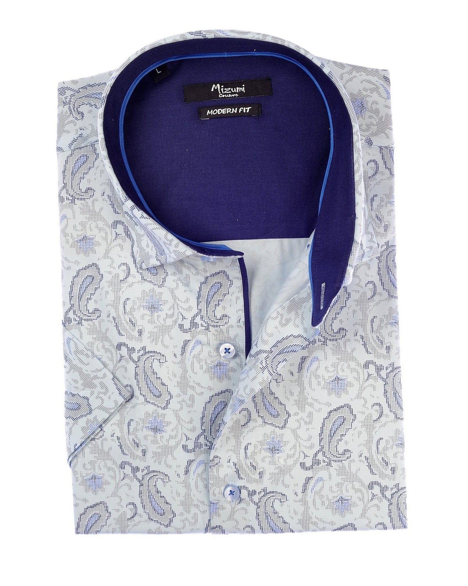 Mizumi Print Short Sleeve Hidden Button Down in Pewter with Blue Paisley - Rainwater's Men's Clothing and Tuxedo Rental