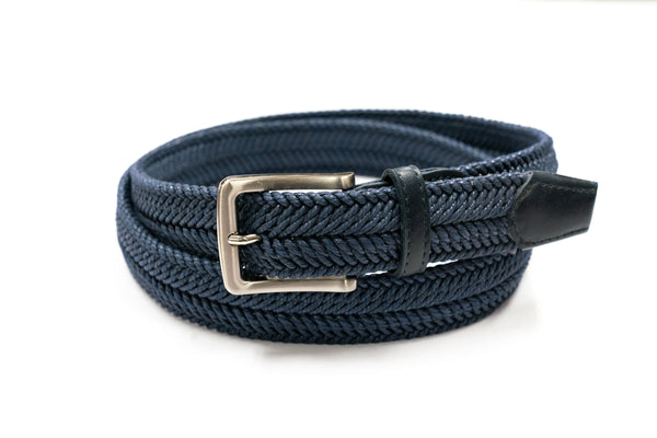 Navy Waxed Cotton Braided Belt - Rainwater's
