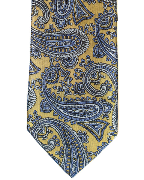 Paisley Silk Tie in Yellow With Blue & Grey - Rainwater's