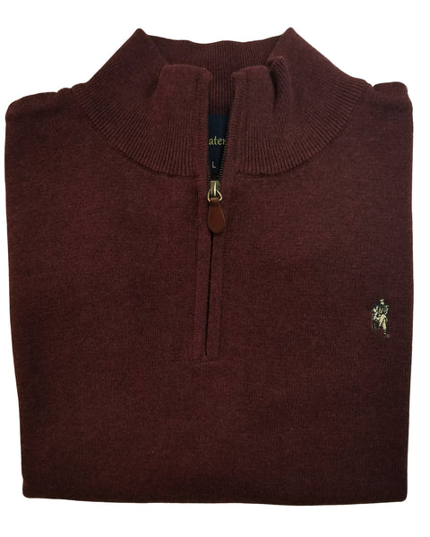 1/4 Zip Mock Sweater Vest in Cabernet Heather Cotton Blend