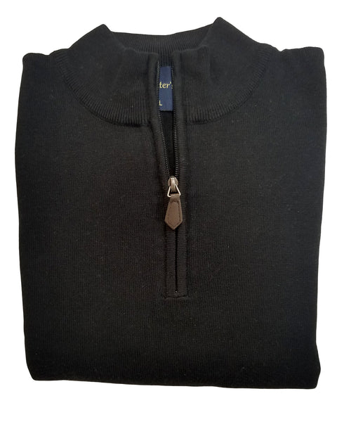 1/4 Zip Mock Sweater in Black Cotton Blend - Rainwater's
