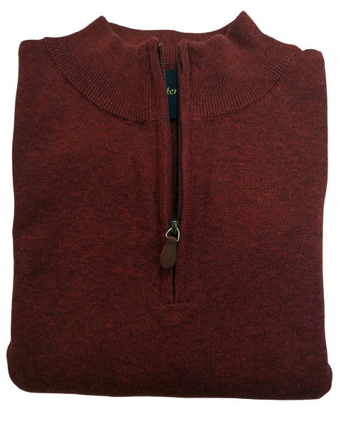 1/4 Zip Mock Sweater in Burgundy Heather Cotton Blend