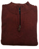 1/4 Zip Mock Sweater in Burgundy Heather Cotton Blend - Rainwater's Men's Clothing and Tuxedo Rental