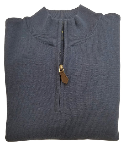 1/4 Zip Mock Sweater in Dark Denim Cotton Blend - Rainwater's Men's Clothing and Tuxedo Rental