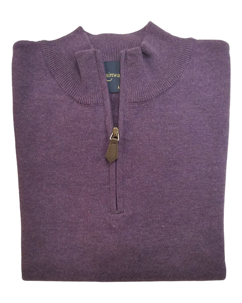 1/4 Zip Mock Sweater in Grape Heather Cotton Blend