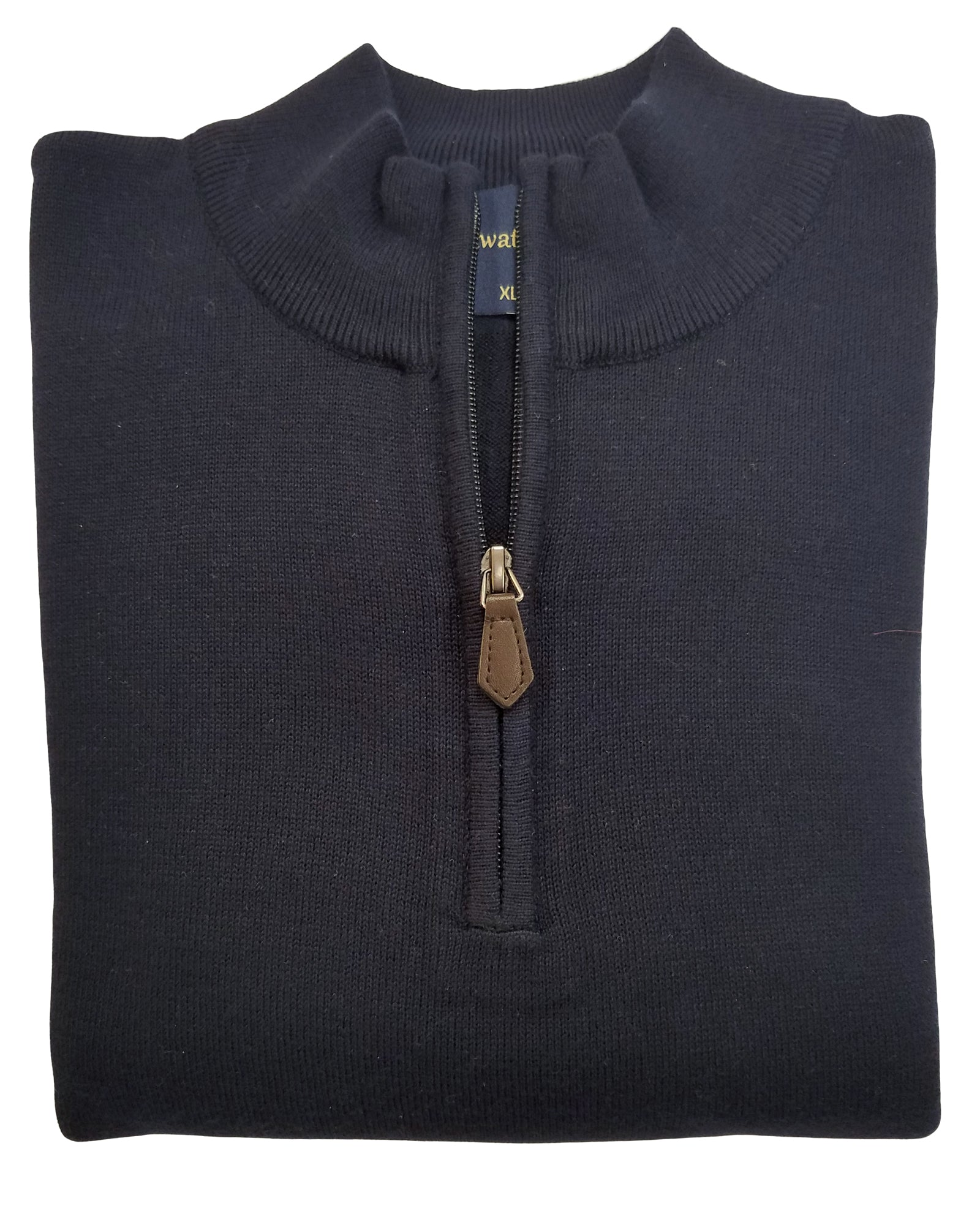 1/4 Zip Mock Sweater in Navy Cotton Blend - Rainwater's Men's Clothing and Tuxedo Rental