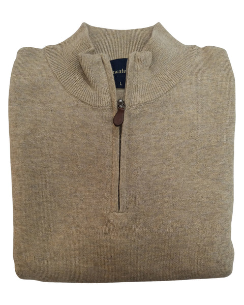 1/4 Zip Mock Sweater in Oatmeal Heather Cotton Blend
