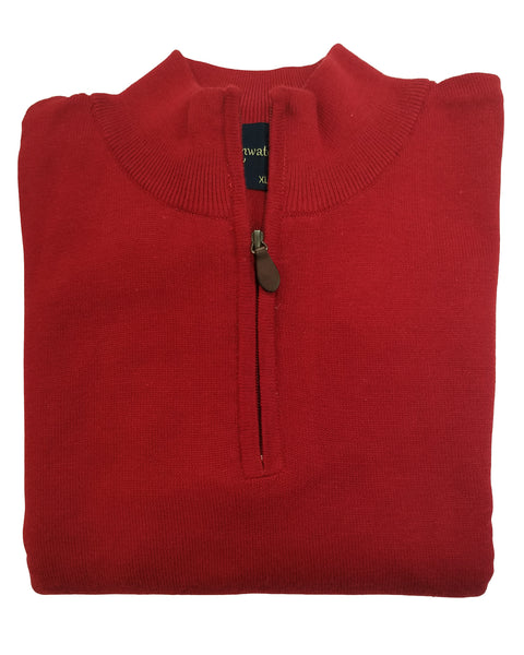 1/4 Zip Mock Sweater in Red Cotton Blend