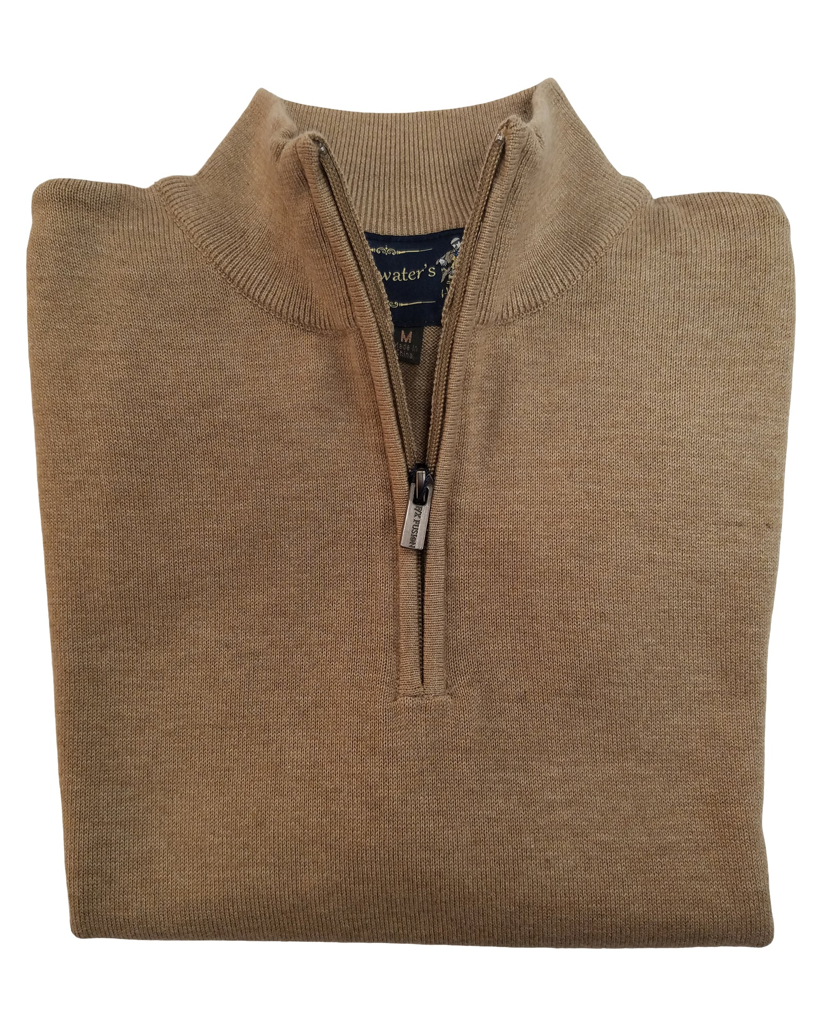 1/4 Zip Mock Sweater Vest in Sand Cotton Blend - Rainwater's Men's Clothing and Tuxedo Rental