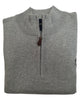 1/4 Zip Mock Sweater in Silver Heather Cotton Blend - Rainwater's Men's Clothing and Tuxedo Rental