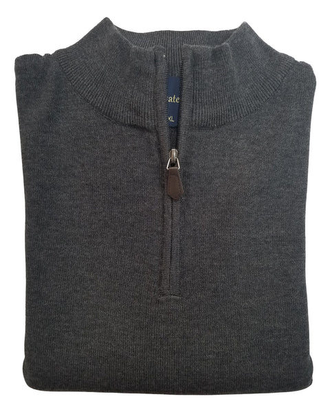 1/4 Zip Mock Sweater in Charcoal Cotton Blend - Rainwater's Men's Clothing and Tuxedo Rental