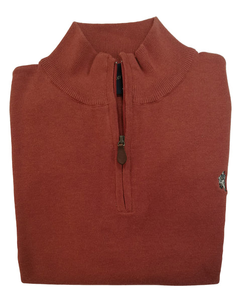 1/4 Zip Mock Sweater Vest in Orange Heather Cotton Blend