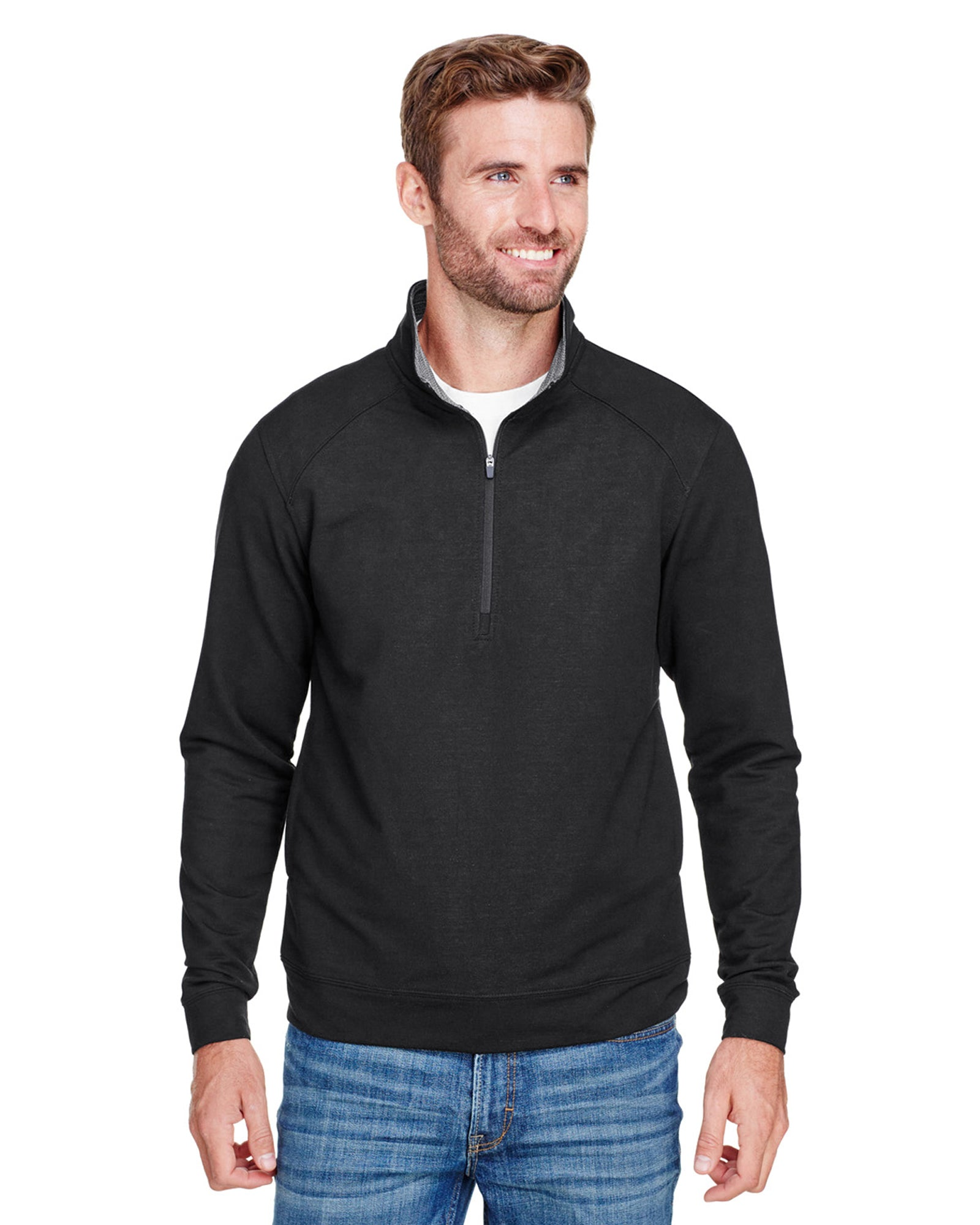1/4 Zip Pullover in Black Tech Stretch - Rainwater's