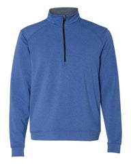 1/4 Zip Pullover in French Blue Heather Tech Stretch - Rainwater's Men's Clothing and Tuxedo Rental