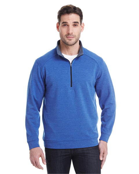 1/4 Zip Pullover in French Blue Heather Tech Stretch