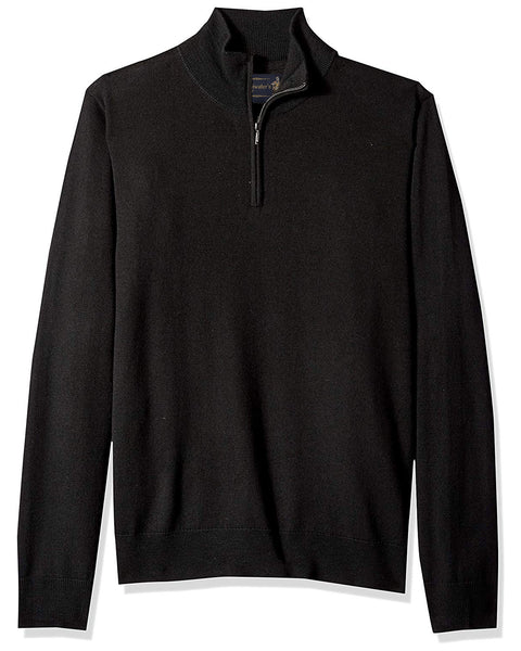 1/4 Zip Mock Sweater in Black 100% Merino Wool - Rainwater's Men's Clothing and Tuxedo Rental
