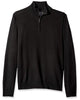1/4 Zip Mock Sweater in Black 100% Merino Wool - Rainwater's