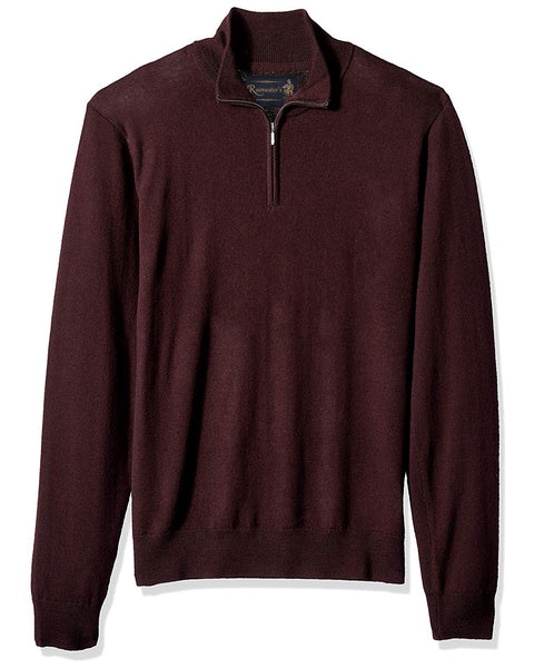 1/4 Zip Mock Sweater in Burgundy 100% Merino Wool - Rainwater's