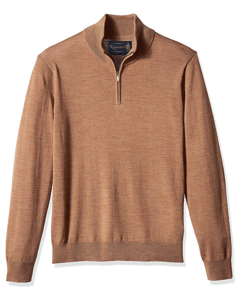 1/4 Zip Mock Sweater in Camel 100% Merino Wool