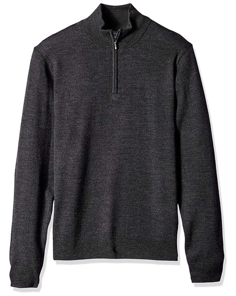 1/4 Zip Mock Sweater in Charcoal 100% Merino Wool