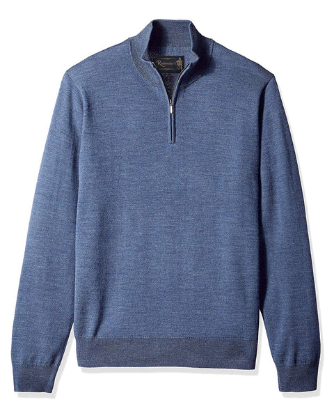 1/4 Zip Mock Sweater in Denim Blue 100% Merino Wool