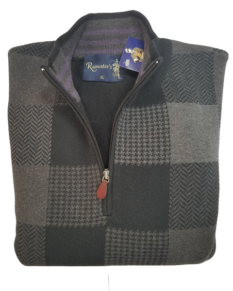 1/4 Zip Mock Sweater in Black & Grey Patchwork Design Cotton Blend - Rainwater's Men's Clothing and Tuxedo Rental