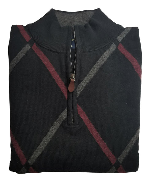 1/4 Zip Mock Sweater in Black With Grey Diamond Pattern Cotton Blend
