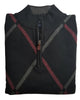 1/4 Zip Mock Sweater in Black With Grey Diamond Pattern Cotton Blend - Rainwater's Men's Clothing and Tuxedo Rental