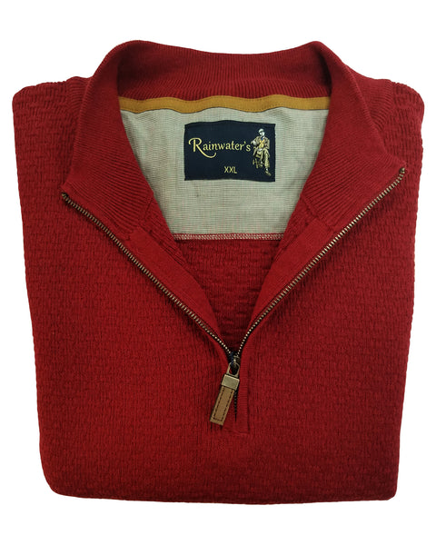 1/4 Zip Mock Sweater in Claret Red Cotton Blend - Rainwater's Men's Clothing and Tuxedo Rental