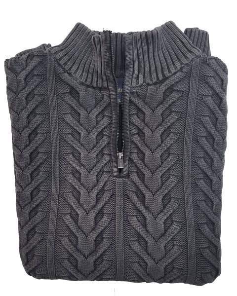 1/4 Zip Mock Sweater in Grey Washed Cotton Cable Knit - Rainwater's Men's Clothing and Tuxedo Rental