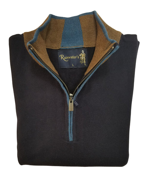 1/4 Zip Mock Sweater in Navy Solid With Brown Cotton Blend - Rainwater's Men's Clothing and Tuxedo Rental