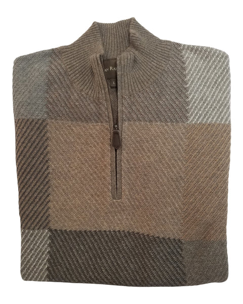 1/4 Zip Mock Sweater in Olive & Brown Square Pattern Cotton Blend - Rainwater's Men's Clothing and Tuxedo Rental