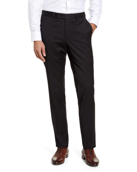 Rainwater's Fine Tropical Weight Man Made Fabric in Black Slim Fit Slacks - Rainwater's Men's Clothing and Tuxedo Rental