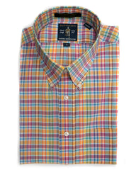 Rainwater's Multi Color Coral & Blue Tech Stretch Plaid Button Up Shirt - Rainwater's