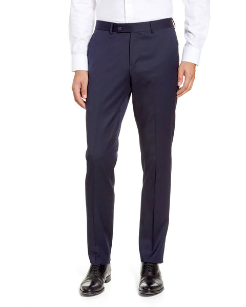 Rainwater's Fine Tropical Weight Man Made Fabric in Navy Slim Fit Slacks - Rainwater's Men's Clothing and Tuxedo Rental